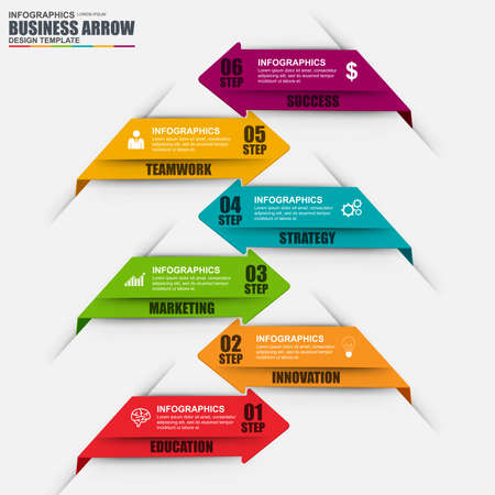 Infographic arrow step design template. Can be used for workflow, stair success, diagram, infographic , number options, design, infographic elements, set information infographics. Illustration