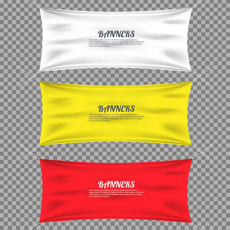 blank canvas: Color textile with folds template set. Separate shadow. Cotton and canvas, flag blank, advertising empty, illustration Illustration