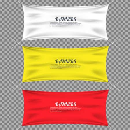 tela algodon: textil de color con los dobleces plantilla de conjunto. sombra separada. El algod�n y el lienzo, el indicador en blanco, publicidad vac�a, ilustraci�n
