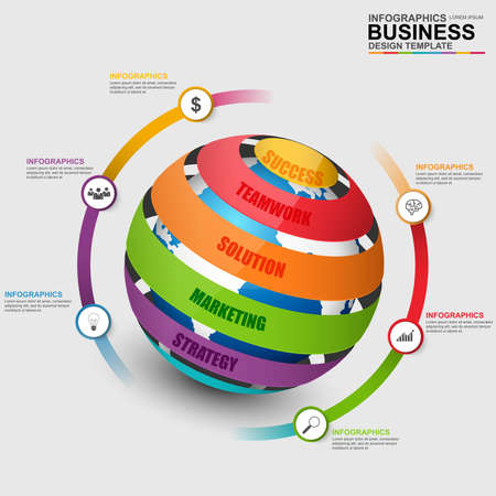 Infographic sphere design template. Can be used for workflow, world map, globe, timeline, diagram, global infographic, number options, design, infographic elements, information infographics. Illustration