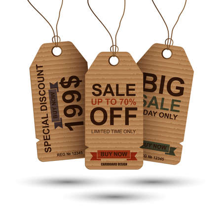 printed: Realistic cardboard vintage sale tags. Can be used for e-commerce, e-shopping, posters, web design and printed materials. paper sale tag, discount tag.