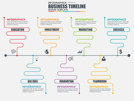 chronological: Infographic linear timeline design template. Can be used for workflow, business timeline, diagram, infographic banner, number options, design, infographic elements, information infographics. Illustration