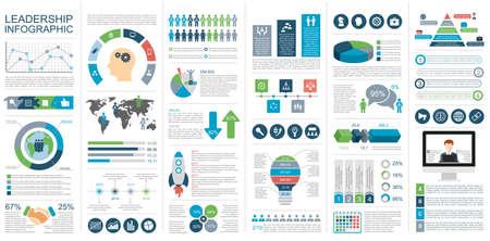 Infographic Leadership Design Template. Kan gebruikt worden voor workflow, opstarten, zakelijk succes, diagram, infographic, teamwork, design, infographic elementen, infographics instellen. Stock Illustratie
