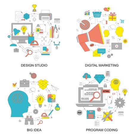 brainstorming: Flat design style modern vector illustration concept for design studio, digital marketing, management, brainstorming, planning, big idea, program coding, business solution for website banner. Flat icons.