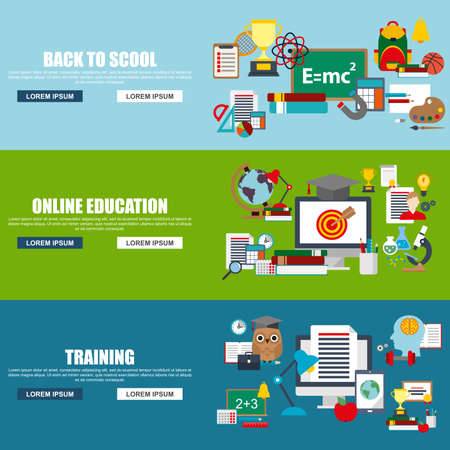 retraining: Flat design style modern vector illustration concept for back to scool, online education, distance tutorials, training, studying online elements isolated illustration for website banner. Flat icons.