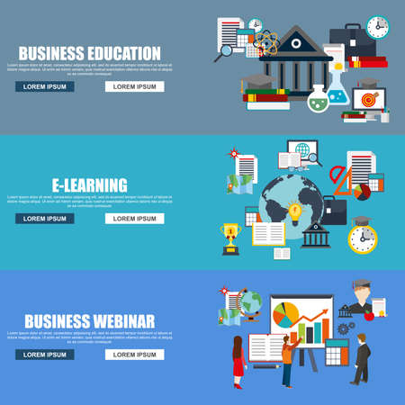tutorials: Flat design style modern vector illustration concept for business webinar, online education, distance tutorials, staff training, e-learning, isolated elements for website banner. Flat icons. Illustration