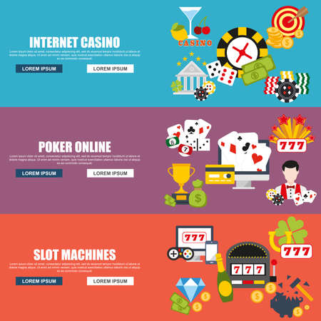 roulette online: Flat design style modern vector illustration concept for internet casino, poker online, slot machines, excitement temptation win game for website banner. Flat icons.
