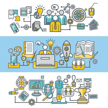 organization: Flat design style modern vector illustration concept for corporate business, teamwork, management, brainstorming, planning, organization, leadership, business solution for website banner. Flat icons.