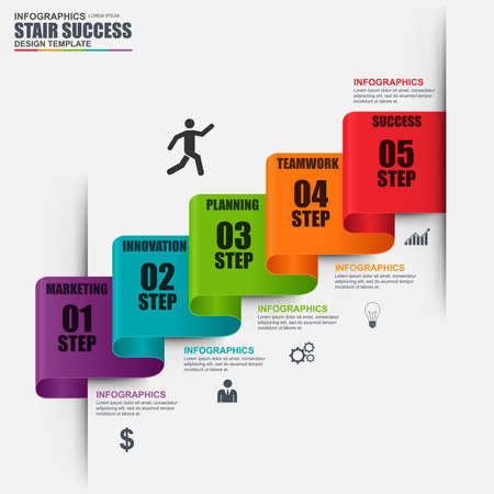 Infographic staircase step vector design template. Can be used for workflow, stair success, diagram, infographic banner, number options, design, infographic elements, information infographics.