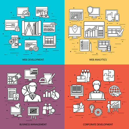 api: Flat line concept of web development, web coding, API programming and customization. Web analytics, business management, corporate development. Flat icon. Vector flat icon. Web icon. Business icon.