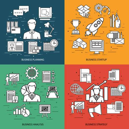 mangement: Flat line concept of business planning, business startup, business analysis, business strategy, analytics, mangement, corporate business team. Flat icon. Vector flat icon. Web icon. Business icon.