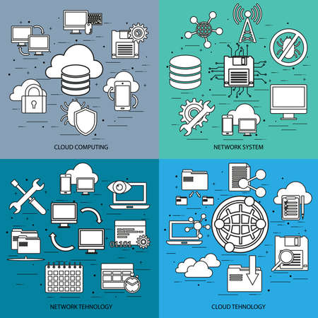 syncing: Flat line concept of cloud computing, network system, network tehnology, cloud tehnology, mobile devices connected onto a cloud data storage. Flat icon. Vector flat icon. Web icon. Business icon.