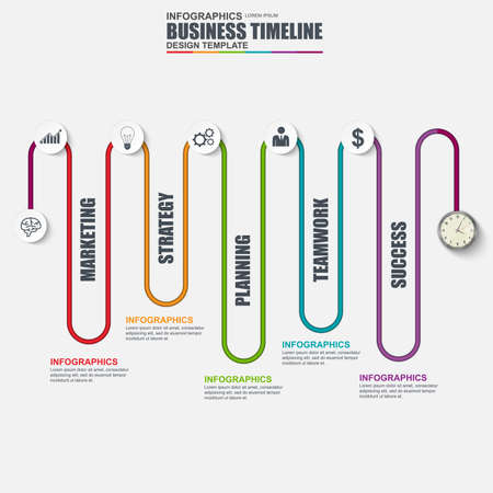 Infographic linear timeline vector design template. Can be used for workflow, business timeline, diagram, infographic banner, number options, design, infographic elements, information infographics. Illustration