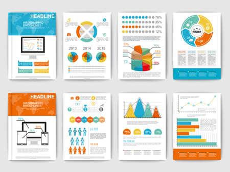Ensemble de brohucres Infographic. éléments vectoriels infographiques modernes pour le web, print, magazine, dépliant, brochure, les médias, la visualisation de données, marketing, flyer, affiche, et les concepts publicitaires.