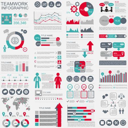 Infografik Teamwork Vektor-Design-Vorlage. Kann für Workflow, Inbetriebnahme, wirtschaftlichen Erfolg, Diagramm, Infografik Banner, Teamarbeit, Design, Infografik-Elemente verwendet werden, stellen Informationen Infografiken. Vektorgrafik
