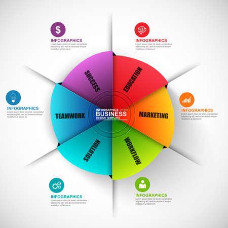 infografica: modello di progettazione vettoriale cerchio infografica. Può essere utilizzato per il flusso di lavoro, diagramma di ciclo, statistica, circolare, bandiera infografica, opzioni di numero, design, elementi infographic, set infografica di informazione. Vettoriali