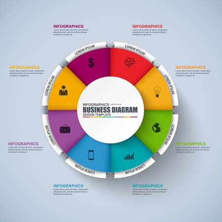 Infographic circular design template. Can be used for workflow, cycle diagram, statistic, chart, infographic banner, number options, design, infographic elements, set information infographics.