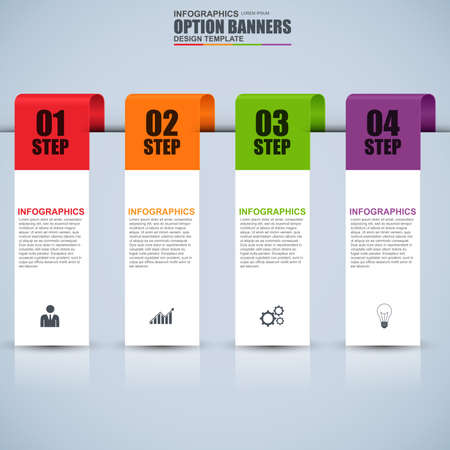 numbered: Infographic ribbon numbered options design template. Can be used for workflow, cycle diagram, infographic banner, number options, web design, infographic elements, set information infographics.