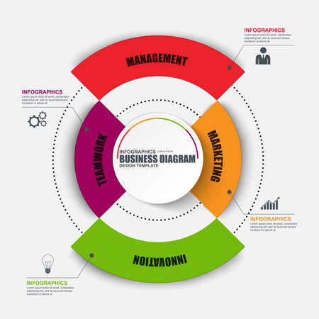 information design: Infographic circular design template. Can be used for workflow, cycle diagram, statistic, chart, infographic banner, number options, design, infographic elements, set information infographics. Illustration