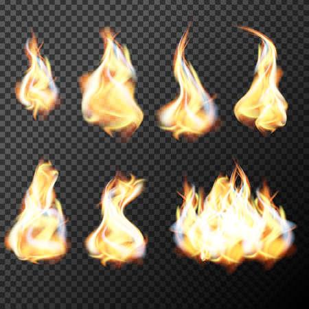 Realistic fire flames set vector on transparent background. Vector illustration.