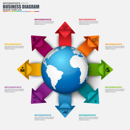 financial statement: Infographic global business vector design template. Can be used for workflow, step to successful, business success, diagram, infographic banner, infographic elements, information infographics.