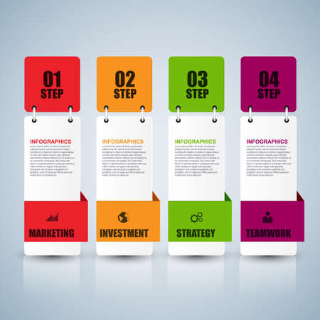 Infographic number options vector design template. Can be used for workflow layout, data visualization, business concept with 4 options, parts, steps or processes, banner, diagram, chart, web design. Banco de Imagens - 56465862