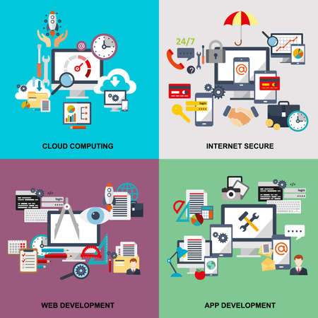 クラウド ・ コンピューティングのフラット ライン概念の設定、インターネット セキュリティ、web 開発、アプリ開発、クラウド技術、クラウド データ ストレージに接続されているデバイスです。Web デザイン、マーケティング、およびグラフィック デザイン。 写真素材 - 56851426