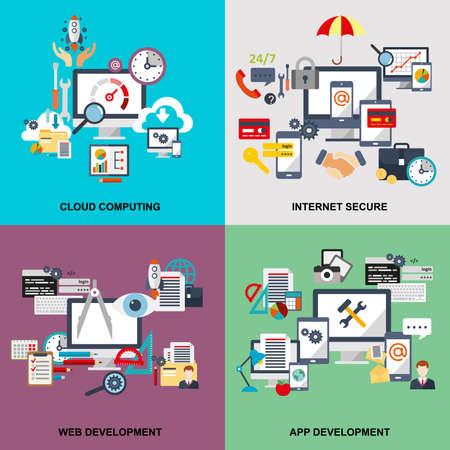 icono ordenador: Conjunto de concepto de línea fija de la computación en nube, segura de Internet, desarrollo web, desarrollo de aplicaciones, la nube tehnology, los dispositivos conectados a la nube de almacenamiento de datos. diseño web, marketing y diseño gráfico. Vectores