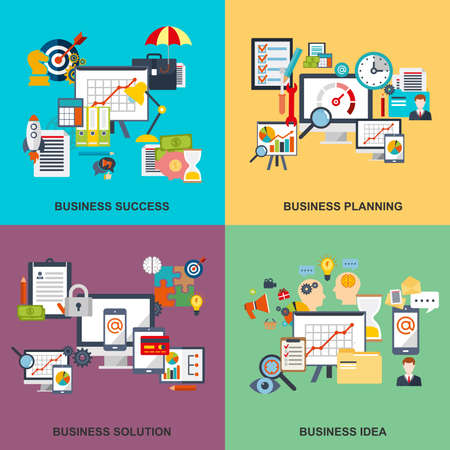 corporate team: Set of flat line concept of business planning, business startup, business analysis, business strategy, analytics, mangement, corporate business team. Web design, marketing, and graphic design. Illustration