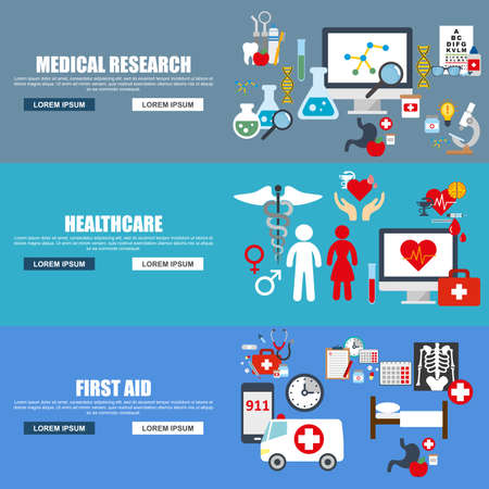 doctor and patient vector: Flat design style modern vector illustration concept for medical banners with doctor hospital patient, healthy and healthcare, medical infographics, isolated elements for website banner. Flat icons.