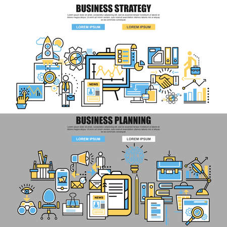 mangement: Set of flat line concept of business planning, business startup, business analysis, business strategy, analytics, mangement, corporate business team. Web design, marketing, and graphic design. Illustration