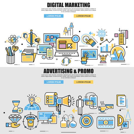 innovation concept: Set of flat line concept of video, viral and digital marketing, advertising and promo, business planning, business startup, business strategy, analytics, corporate business team. Web design graphic.