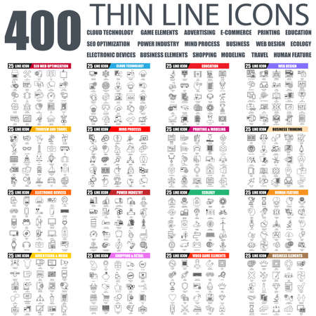 security icon: Set of thin line icons for cloud tehnology and devices, seo, industry, business elements, advertising, shopping, e-commerce, web development, ecology, travel, business education. Linear symbols set.