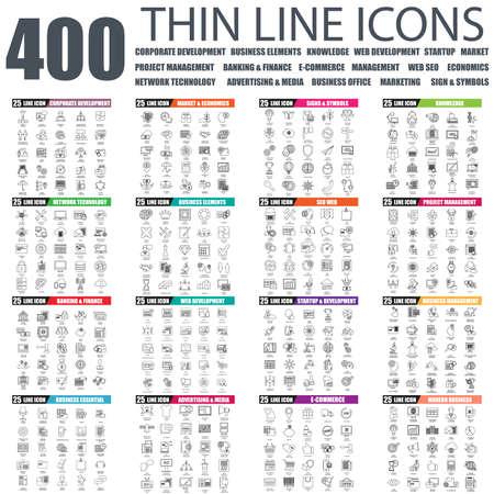 icone: Set di icone delle linee sottili per lo sviluppo aziendale, la gestione dei progetti, tehnology rete, banche, ufficio commerciale, sviluppo web, l'avvio, mercato, economia, SEO, pubblicità. simboli lineari impostati.