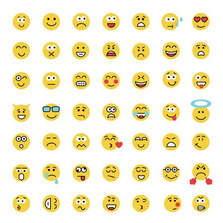 carita feliz: Conjunto de ilustración vectorial emoticono plana. establece emoticon. Cara de emoticon sobre un fondo blanco. icono emoticono. colección de emociones diferentes. Emoticon diseño plano. iconos sonrisa. Emoticon, aislado emoji. Vectores