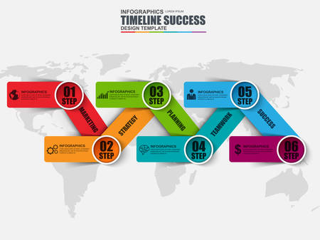 chronological: Infographic business timeline design template. Can be used for workflow layout, chart, diagram, infographic banner, steps processes, web design, infographic elements, information infographics.