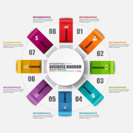 Infographic circular diagram design template. Can be used for workflow, cycle layout, business process, chart, infographic banner, teamwork, infographic elements, information infographics.