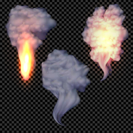 special effects: Realistic smoke and fire set on transparent background, special effects collection. Nature smoke illustration. Illustration