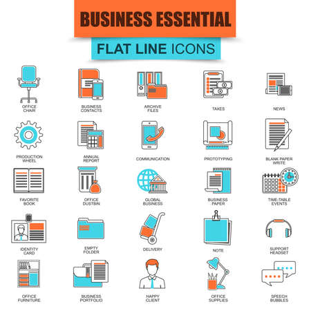 business equipment: Set of thin line icons business tools, office essential equipment. Modern mono flat linear concept pictogram, set simple outline icon, symbol for graphic and web designers. Collection flat line icon. Illustration