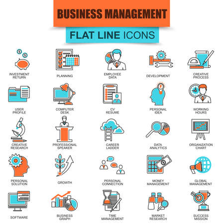 Set of thin line icons business management, leadership and corporate management. Modern mono flat linear concept pictogram, set simple outline icon, symbol for graphic. Collection flat line icon.
