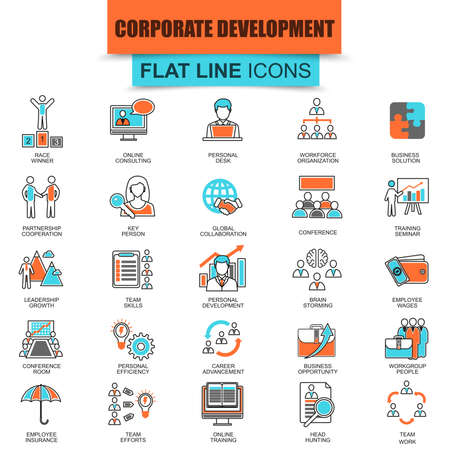 leadership training: Set of thin line icons corporate development, business leadership training and corporate career. Modern mono flat linear concept pictogram, set simple outline icon, symbol. Collection flat line icon. Illustration