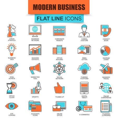 icone: Set di icone sottili linee che fanno affari con le idee di tecnologia di marketing. mono moderna lineare piatta concetto pittogramma, impostare icona semplice contorno, simbolo per i web designer grafici. icona linea piatta Collection. Vettoriali