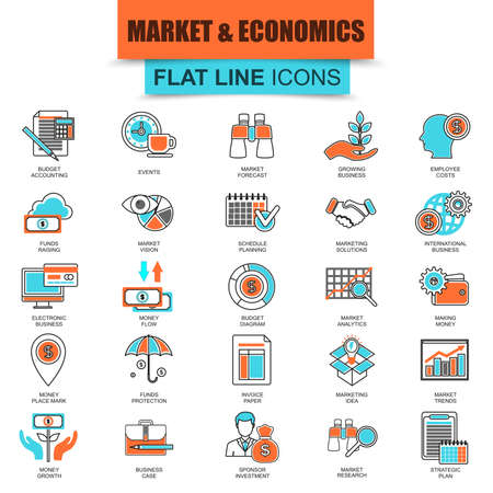 analisys: Set of thin line icons market and economics, financial services, money savings. Modern mono flat linear concept pictogram, set simple outline icon symbol for web designers. Collection flat line icon.