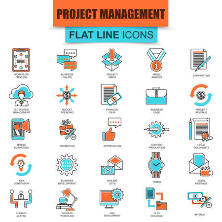 web icon: Set of thin line icons project management, business leadership. Modern mono flat linear concept pictogram, set simple outline icon, symbol for graphic and web designers. Collection flat line icon.