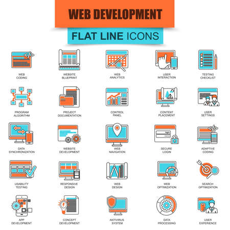 synchronization: Set of thin line icons web design and development, web coding, app programming and customization. Modern mono flat linear concept pictogram, set simple outline icon, symbol. Collection flat line icon.