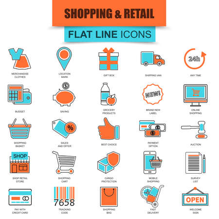 retail sales: Set of thin line icons e-commerce, internet shopping, retail store and online sales. Modern mono flat linear concept pictogram, set simple outline icon symbol for designers. Collection flat line icon.