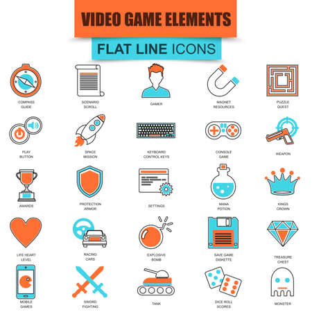 weapons: Set of thin line icons game objects, mobile gaming elements. Modern mono flat linear concept pictogram, set simple outline icon, symbol for graphic and web designers. Collection flat line icon.