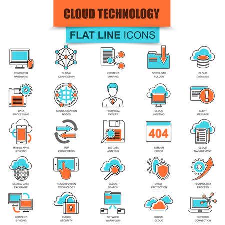 plataforma: Conjunto de iconos de línea delgada servicios de tecnología de la nube de datos, conexión global, la computación en nube. mono moderna lineal plana concepto de pictograma, conjunto simple icono del contorno, para los diseñadores. icono de la línea plana colección.