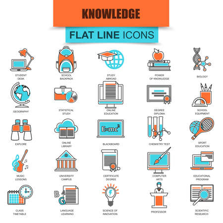 study: Set of thin line icons distance school education training and study online. Modern mono flat linear concept pictogram, set simple outline icon, symbol for web designers. Collection flat line icon.