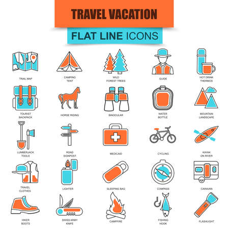 swiss alps: Set of thin line icons nature tourism recreation, outdoor camping and travel vacation. Modern mono flat linear concept pictogram, set simple outline icon for designers. Collection flat line icon.